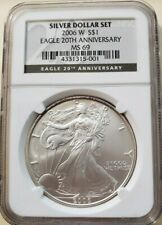 2006 W NGC MS69 AMERICAN SILVER EAGLE FROM THE 20TH ANNIVERSARY SET BLACK LABEL