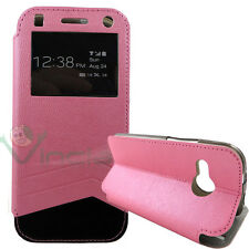 Custodia flip cover S-View per HTC One mini 2 rosa finestra touch simil pelle