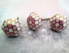 Hexagon Drawer Knobs Pink & Gold Pattern Pulls Handles +1 Buy Free Postage