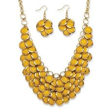 PalmBeach Jewelry Yellow Bib Necklace and Cluster Earrings Set in Gold Tone