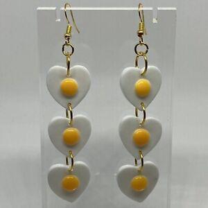 Triple Huge Fried Egg Giant Earrings Kitsch Q500 Yellow Oversized Gold