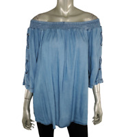 Westport Womens Chambray Top Plus Size 1X Off Shoulder Pullover 3/4 Sleeve Blue