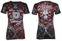 Archaic AFFLICTION Womens T-Shirt QUEEN LADY Tattoo BLACK Biker UFC Sinful $40