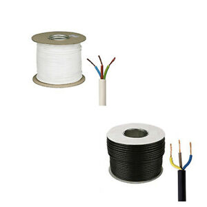 3 Core 1.5mm 3183Y 13 AMP Electrical Cable Black White Mains Wire Flex 240V 2