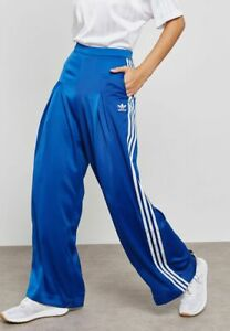 adidas Originals Women's Fashion League Wide Leg Satin Track Pants Trousers