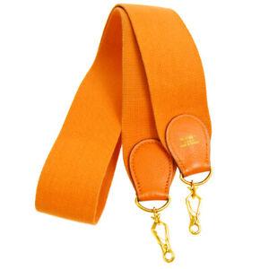 HERMES Logos Shoulder Strap Orange Canvas Handbag Accessories AK35532f
