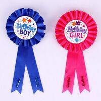 Unqiue Birthday Girl Boy Award Ribbon Rosette Badge Pin Children's Party A!