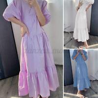 Womens Summer Short Sleeve V Neck Casual Loose Kaftan Long Cocktail Party Dress