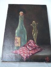 Tableau HST Humoristique/ancien/ Bouteille Vin /Femme nue/Signé C.GIL