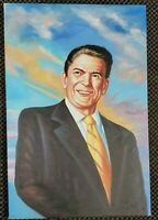 President Ronald Reagan Hand Painted Original Oil Painting USA Leader commander