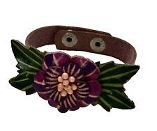 Handmade Genuine Leather Bracelet, Flower Pattern, Beauty and lovely, Style-1