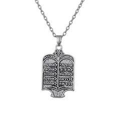 Jewish Torah Scroll 10 Commandments Hebrew Pendant Tibetan Silver Necklace
