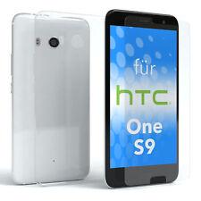 Schutz Hülle + Panzerglas f. HTC One S9 Handy Case Cover Silikon