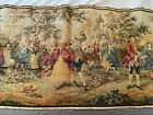 """Antique Tapestry Wall Art Hanging Colonial Couples Courting Scene 56"""" x 19"""" EUC"""