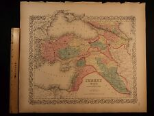 1855 1st COLTON Atlas Color Map TURKEY Mesopotamia Asia Minor Cyprus 14x17in