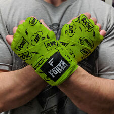"Forza Sports 180"" Mexican Style Boxing and MMA Handwraps - Comic Book Lime Green"