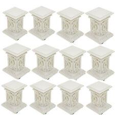 12 pc Miniature Stone Ornate Pedestal Roman Column White Pillar Wedding Party