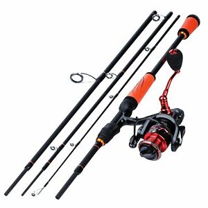1.8-2.4m 4 Section Carbon Fiber Spinning Fishing Rod and 13+1BB Spinning Reel