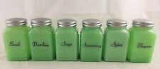 6 Pc Jadite Green Glass Roman Arch Pattern Spice Jar Jadeite Shakers Set # A