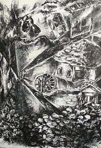 1993 Ink painting surrealist landscape signed