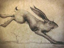 Original Running Hare English Folk Art Drawing Print on Antique Parchment
