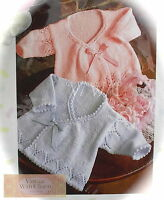 """Knitting Pattern Baby's """"Wrapover"""" Coats. 3 Sizes Fit 35-46cm. Chest"""