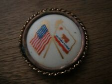 ORIGINAL S.A.W. California & American Flag Patriotic Rosette Celluloid Button