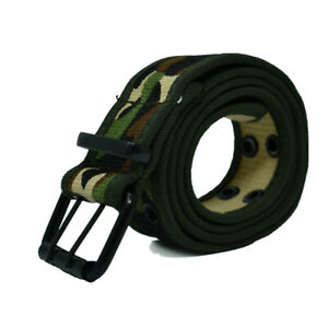 Unisex Mens 100% Cotton Canvas Belt Double Grommet Hole Adjustable Buckle Jean