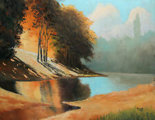 RIVER LANDSCAPE OIL PAINTING SIGNED