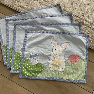 Pottery Barn Kids Easter Bunny Fabric Placemat Set Of 4 Excellent