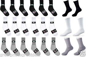 Kids 6-8 Crew Dozens Lot Knocker Sport Cotton Crew Socks White Black Grey