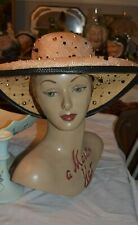jack mcconnell Boutique Woven Straw Studded Beaded Hat