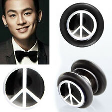 Pair Fake Illusion Non Piercing Magnetic Black/White Peace Sign Ear Gauge Plugs