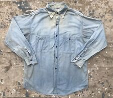 50s Chambray Shirt Workwear Jcpenney Sanforized Repaired As Is 1950s 23� Chest