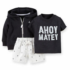 Nwt Infant Boys Carter'S 3 Pc. Ahoy Matey Shirt Shorts & Hoodie Set Size 18 Mo
