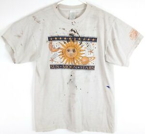 VTG Mens Gray Sun Moon Stars Astrology Painted Single Stitch Spell Out T-Shirt M