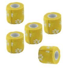 5 Rolls Flexible Cohesive Bandage Pet Dog Cat Wrap Tape Paws Print 2 Inch