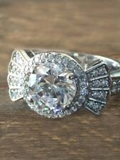 Ring 925 Sterling Silver Size 8 2.76Ct Near White Moissanite Art Deco Engagement