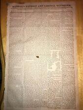 2/6/ 1822 Rare Springfield Mass. ~ Hampden Patriot Newspaper