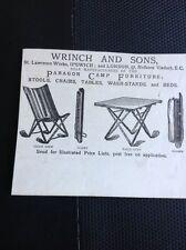 K1-8 Ephemera Advert 1885 Wrinch And Sons Ipswich Paragon Camp Furniture