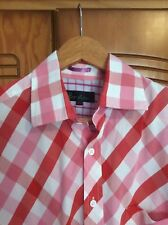 "BODEN.  LONG SLEEVE SHIRT.  COLLAR 15.5"" LONG.   RED PINK WHITE  CHECK   EX COND"
