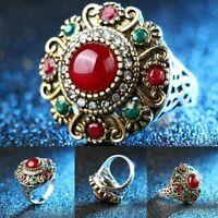Vintage Boho Crystal Jewelry Wedding Imitated Gemstone Women Ladies Ring Gifts