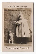 Rare 1900s Spanish Trade card Bisbal Ironing Starch Girl & Jack Russell Terrier