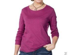 Sheego Damen Basic Doppel 2 Shirt s Langarm Baumwolle schwarz und pink Gr. 44/46