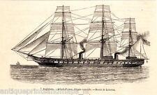 Antique print Black Prince Frigate British warship Navy 1863 frégate cuirassée