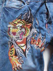 Christian Audigier Jeans Hose W 42 /L 32 Sammlerstück: gestickter Tiger ! KULT !