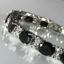 925 Sterling Silver Finish Black Onyx Cubic Zirconia Tennis Bracelet CZ Oval