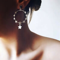 Women Silver Star Round Geometric Pandent Stud Earrings Dangle Jewelry Gift