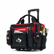 Husky 14 in. Rolling Tool Tote Mobile Heavy Duty Portable Bag Storage Organizer