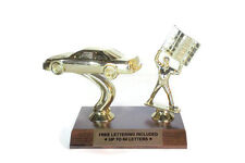 Auto Racing Trophy #2- Stock Car With Flagman- Winner- Driving- Free Lettering
